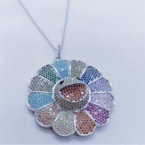 Silver Takashi Murakami Flower Necklace